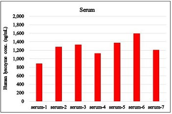 Human lysozyme concentration in serum samples